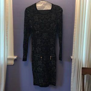 Michael Koes Xs Long Slv Dress Black Print Zip poc